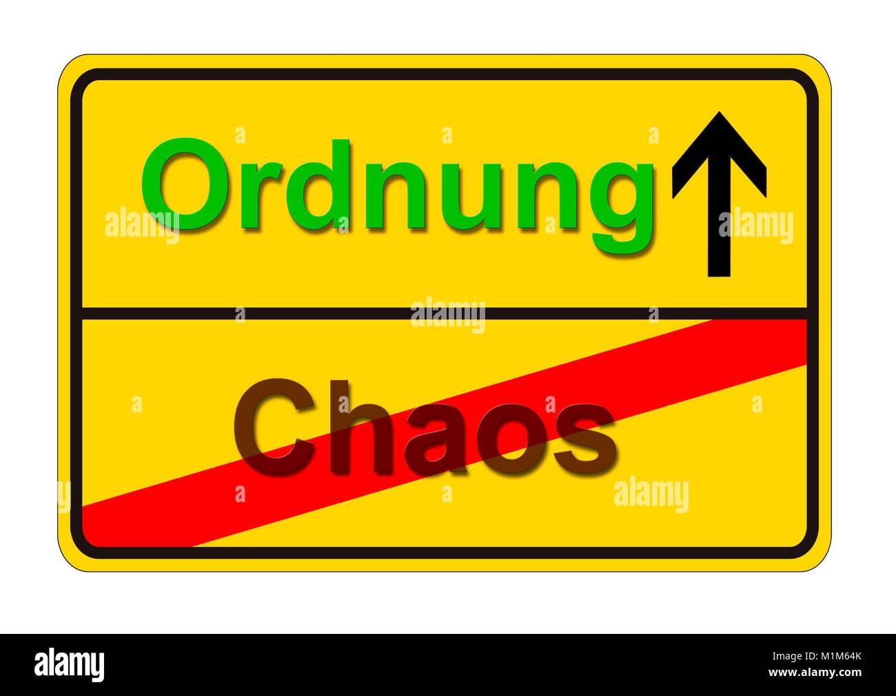 Ortsschild zeigt den Weg von Chaos zur Ordnung - Stock Image
