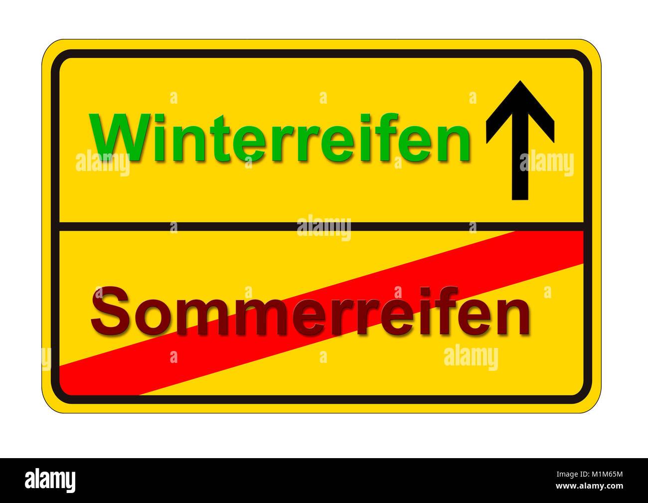 Ortsschild zeigt den Weg von Sommerreifen zu Winterreifen Stock Photo