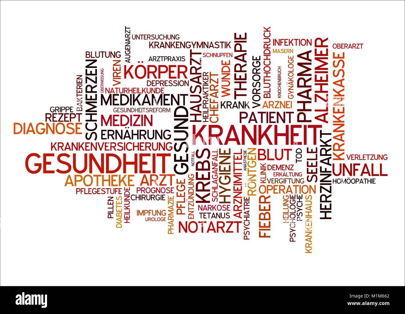 Gesundheit und Krankheit Wortwolke Stock Photo