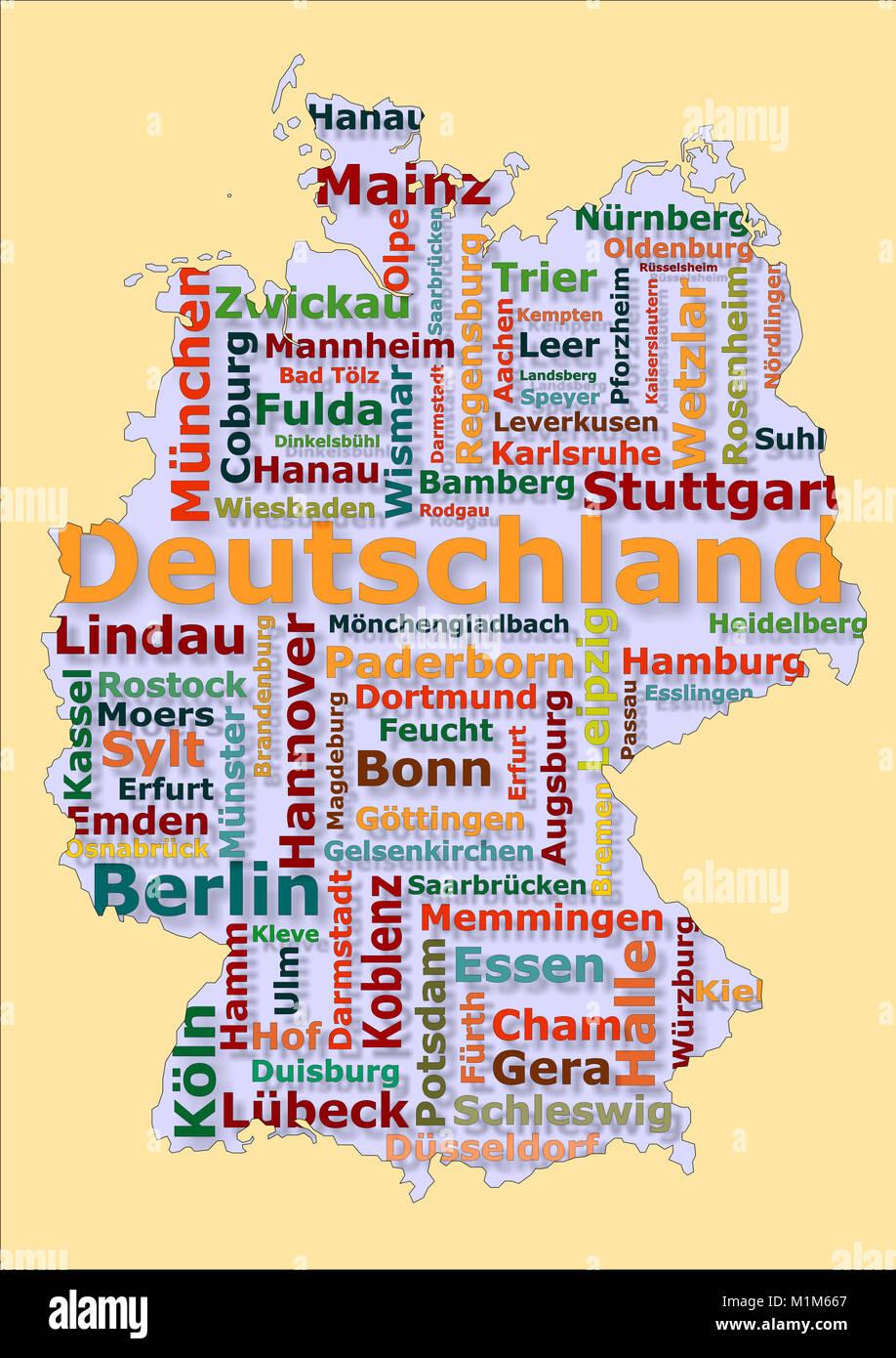 Deutschland Karte mit großen Städten - Stock Image