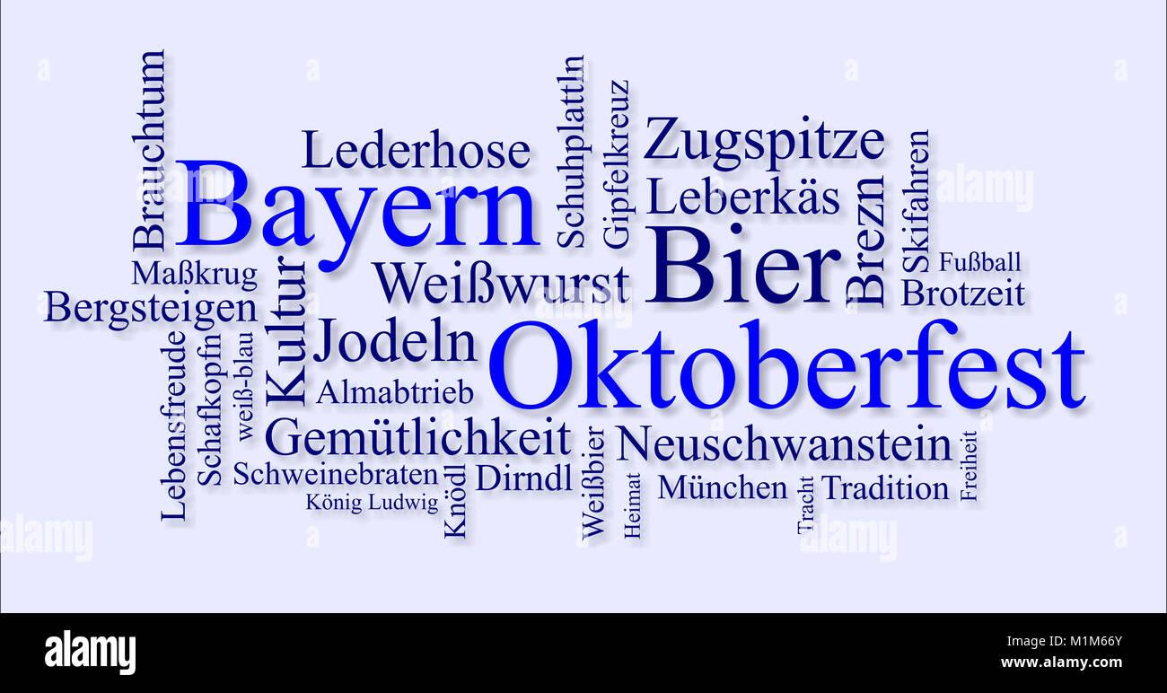 Wortwolke für Oktoberfest in München, Bayern - Stock Image