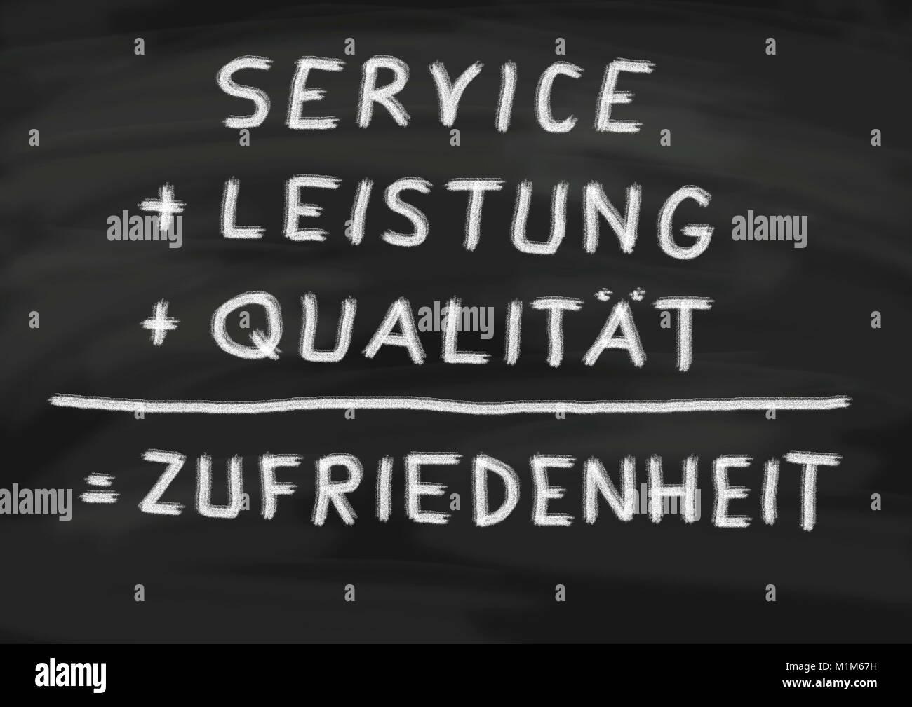Mit Service, Leistung und Qualität zur Zufriedenheit des Kunden, geschrieben auf Schiefertafel - Stock Image