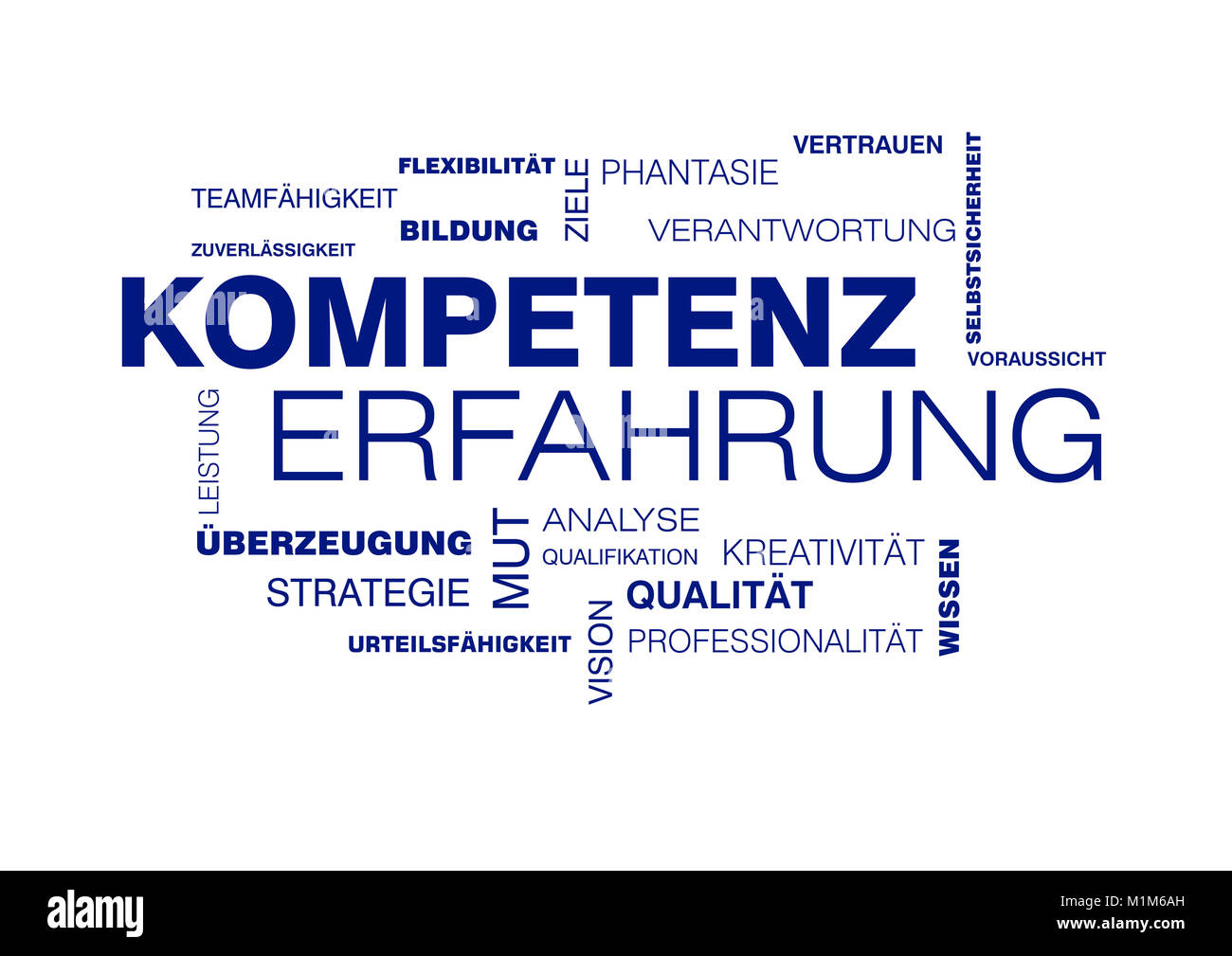 Wortwolke zu Kompetenz und Erfahrung - Stock Image
