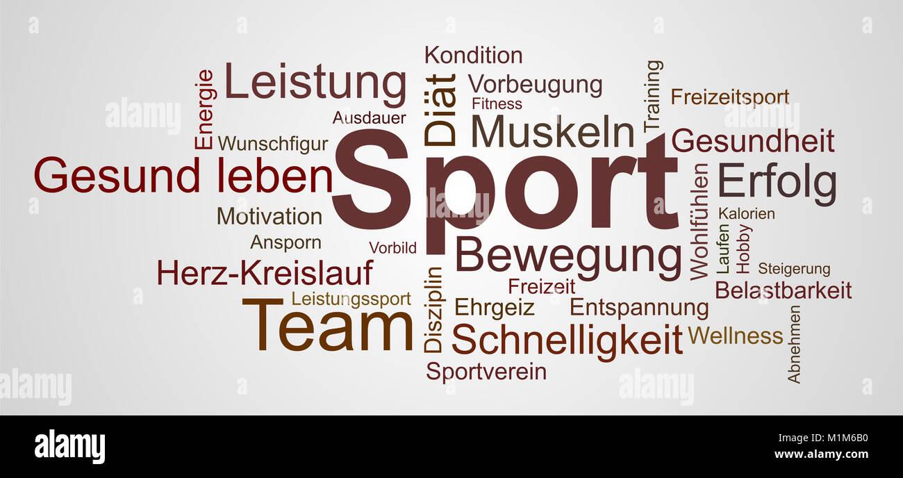 Wortwolke zu Sport, Gesundheit und Bewegung - Stock Image