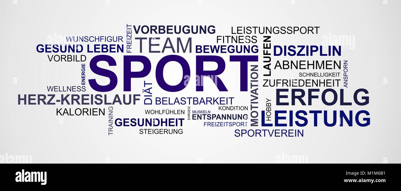 Wortwolke zum Thema Sport und Gesundheit - Stock Image