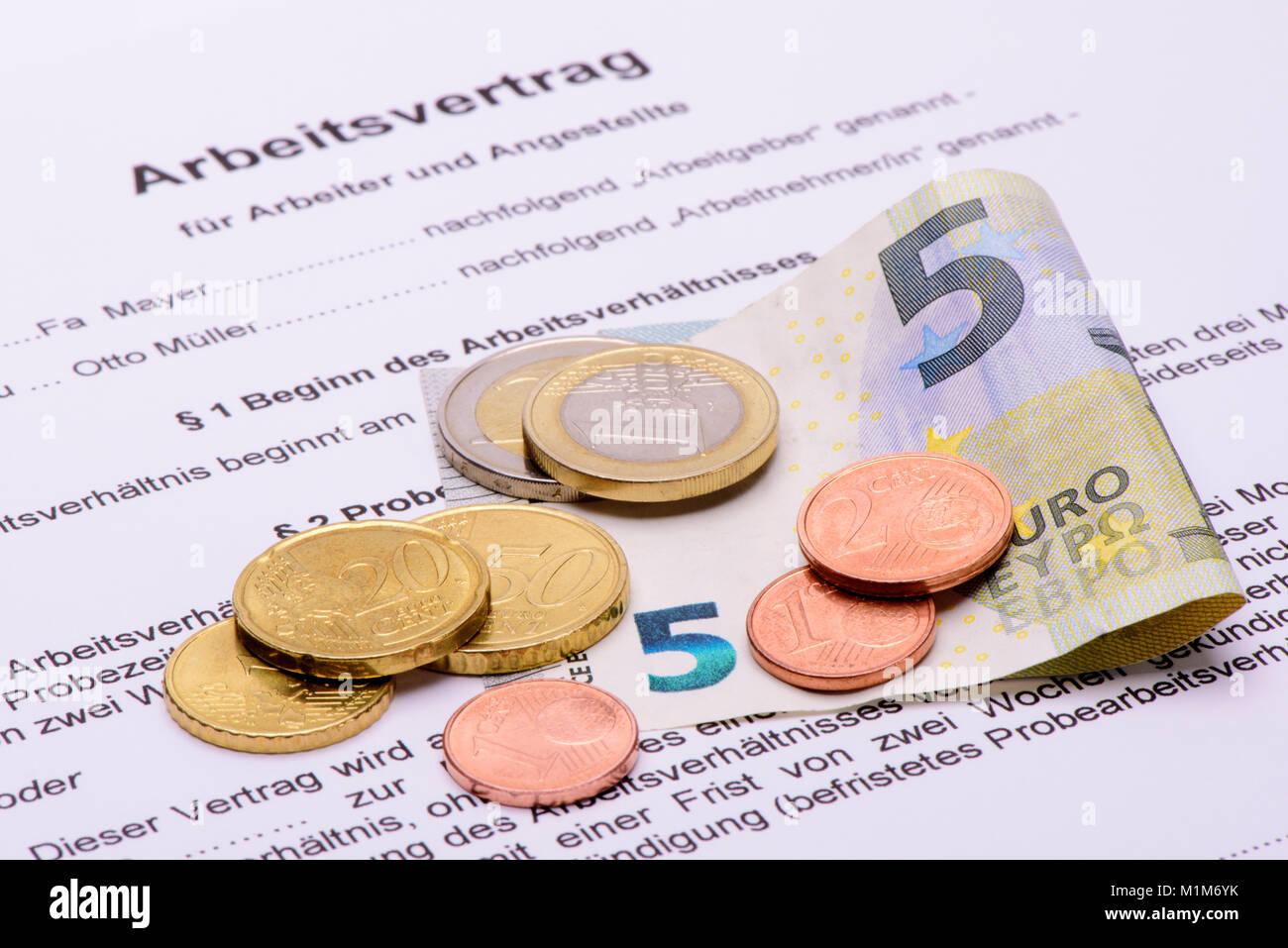 Mindestlohn 8,84 Euro pro Stunde Stock Photo