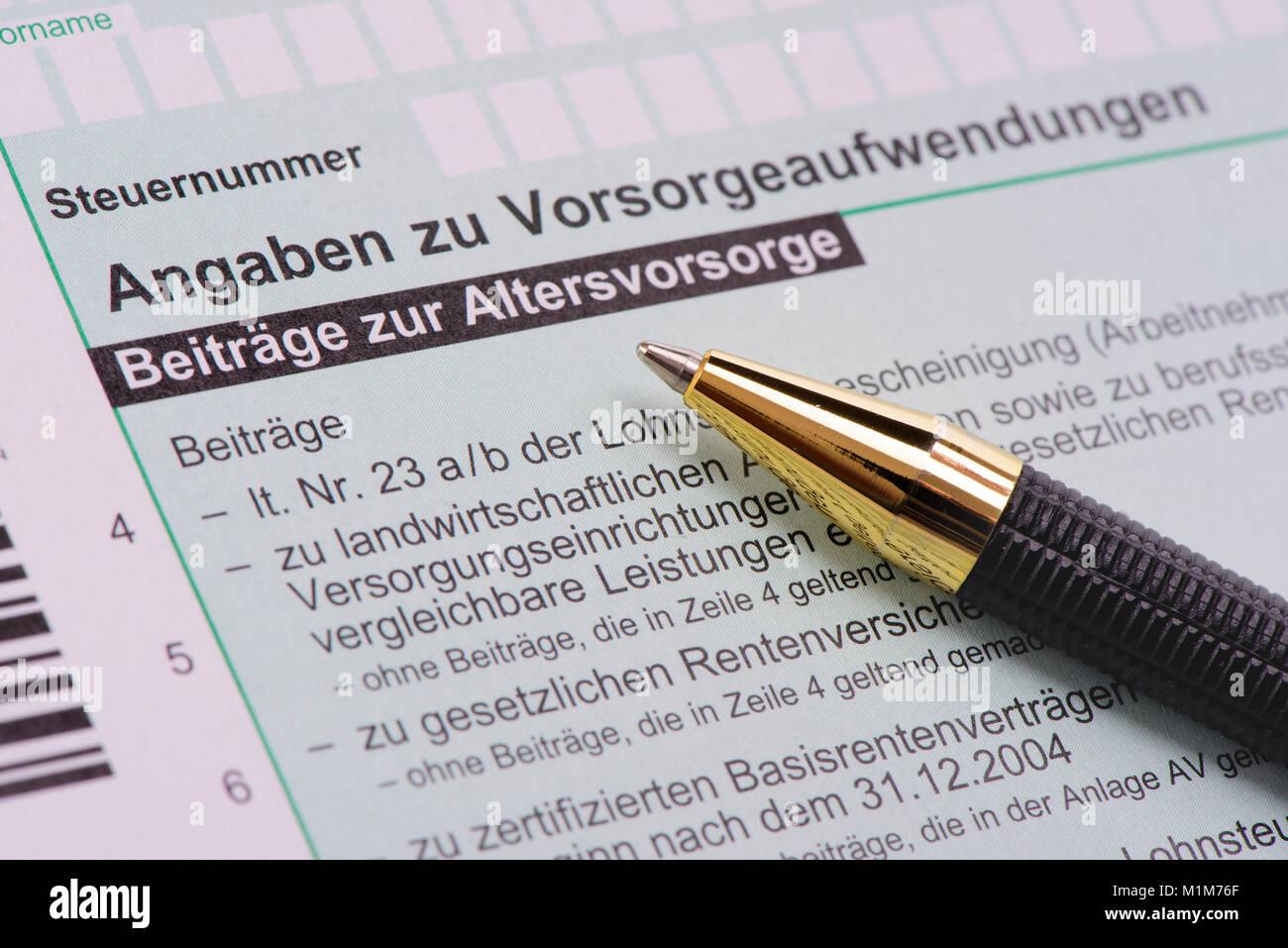 Steuerformular für Finanzamt Stock Photo