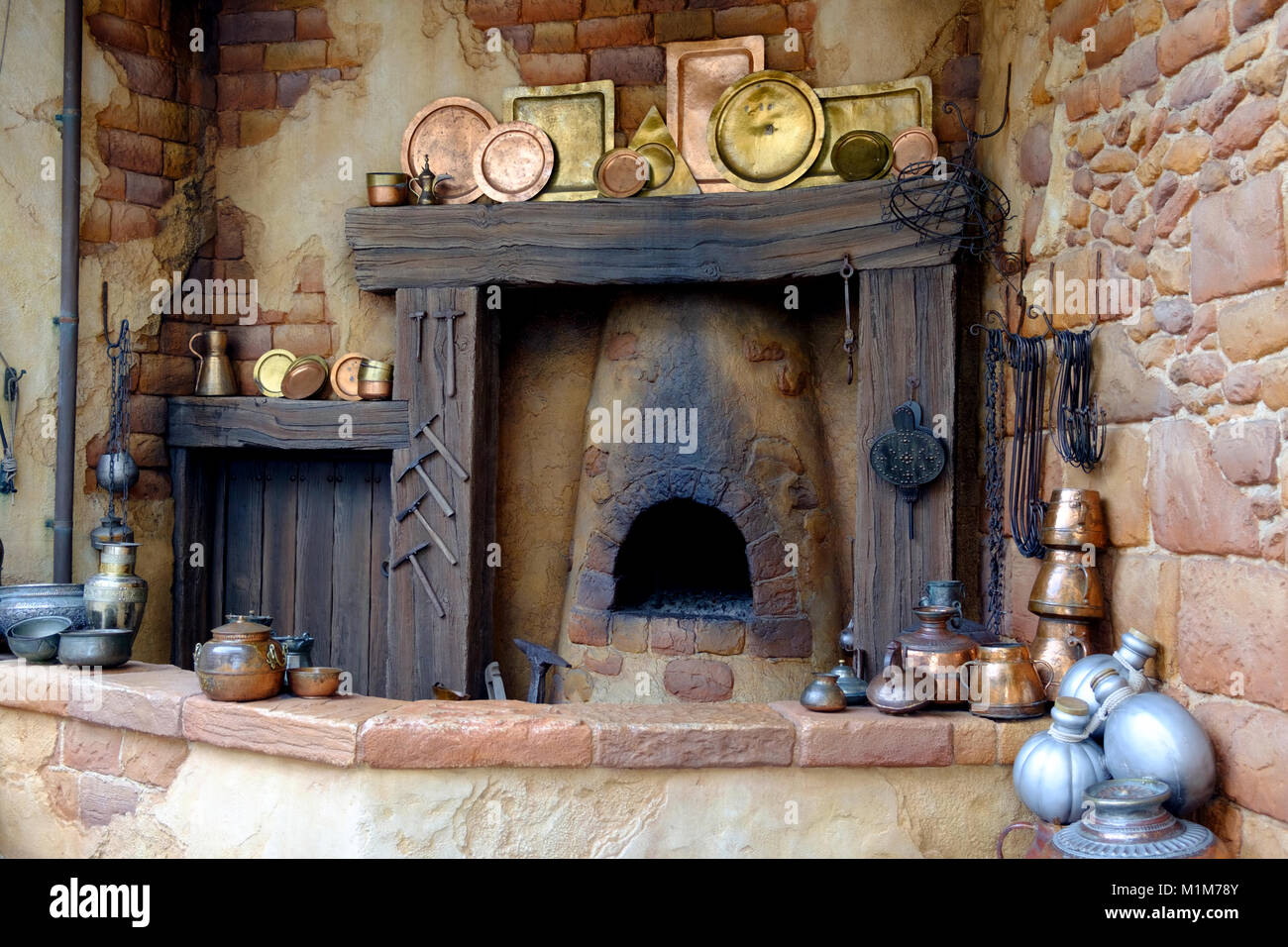 Old Kitchen Hearth With Copper Pots Pans And Platters And