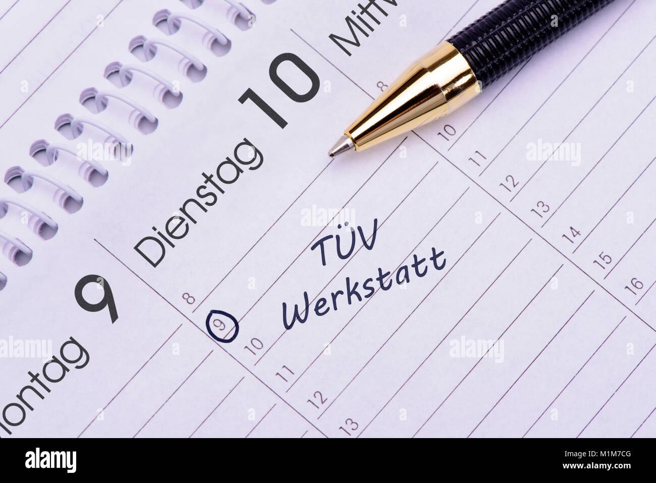 Kalendereintrag für TÜV - Stock Image