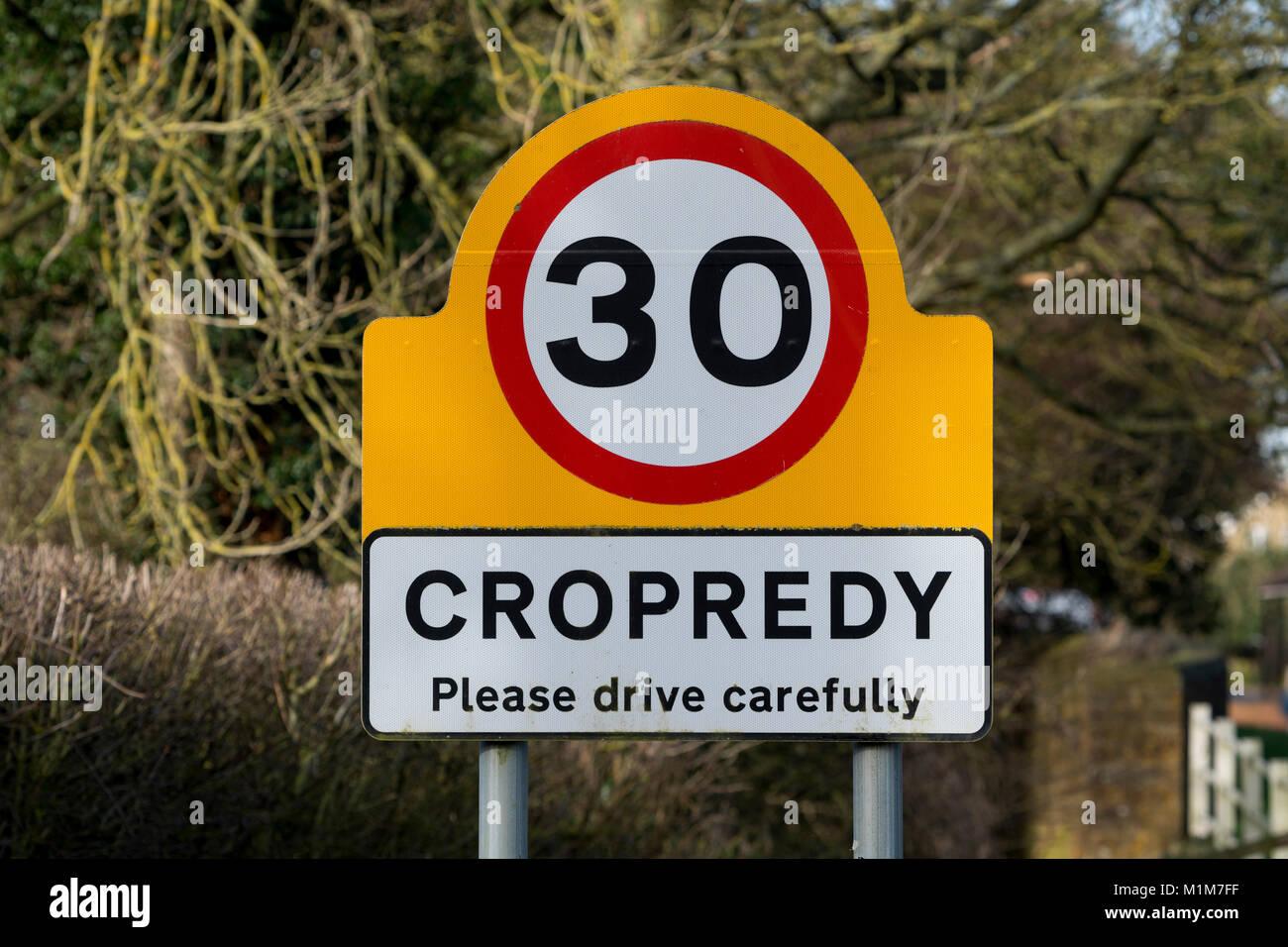 Cropredy village sign, Oxfordshire, England, UK - Stock Image