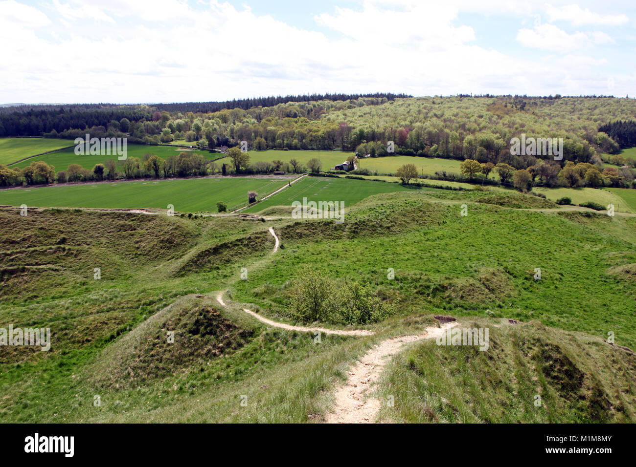 View from Cley Hill towards Longleat Estate in Wiltshire UK. - Stock Image