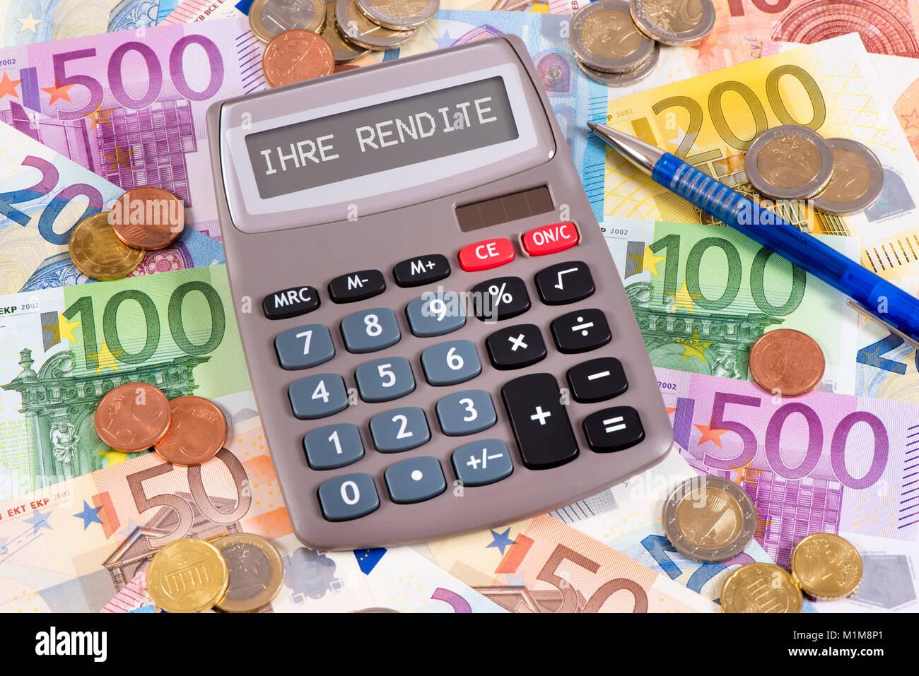 Taschenrechner mit Aufschrift Ihre Rendite - Stock Image