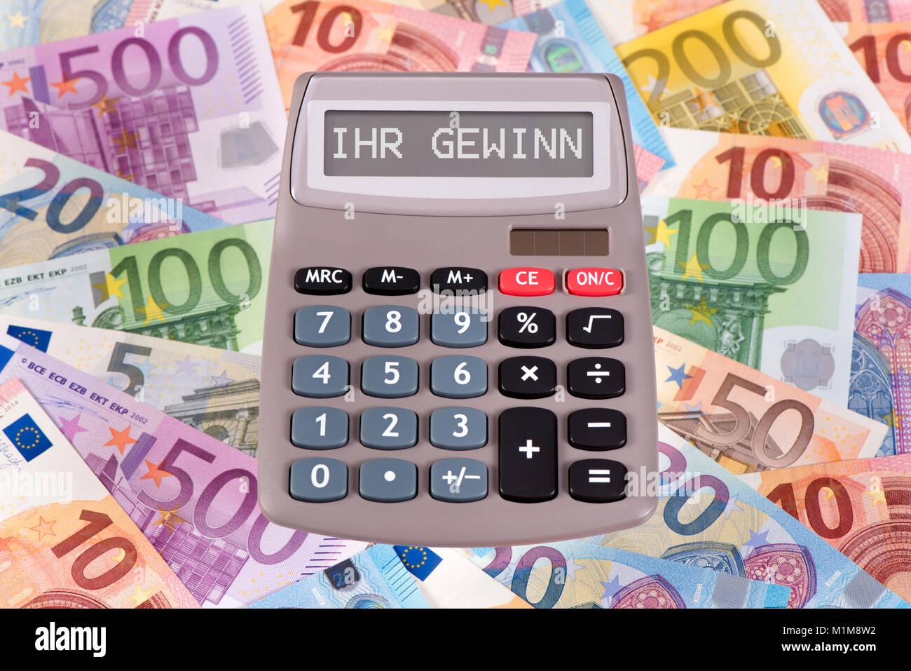 Taschenrechner mit Aufschrift Ihr Gewinn - Stock Image