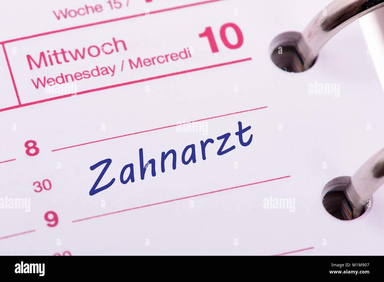 Zahnarzt  Termin im Kalender - Stock Image