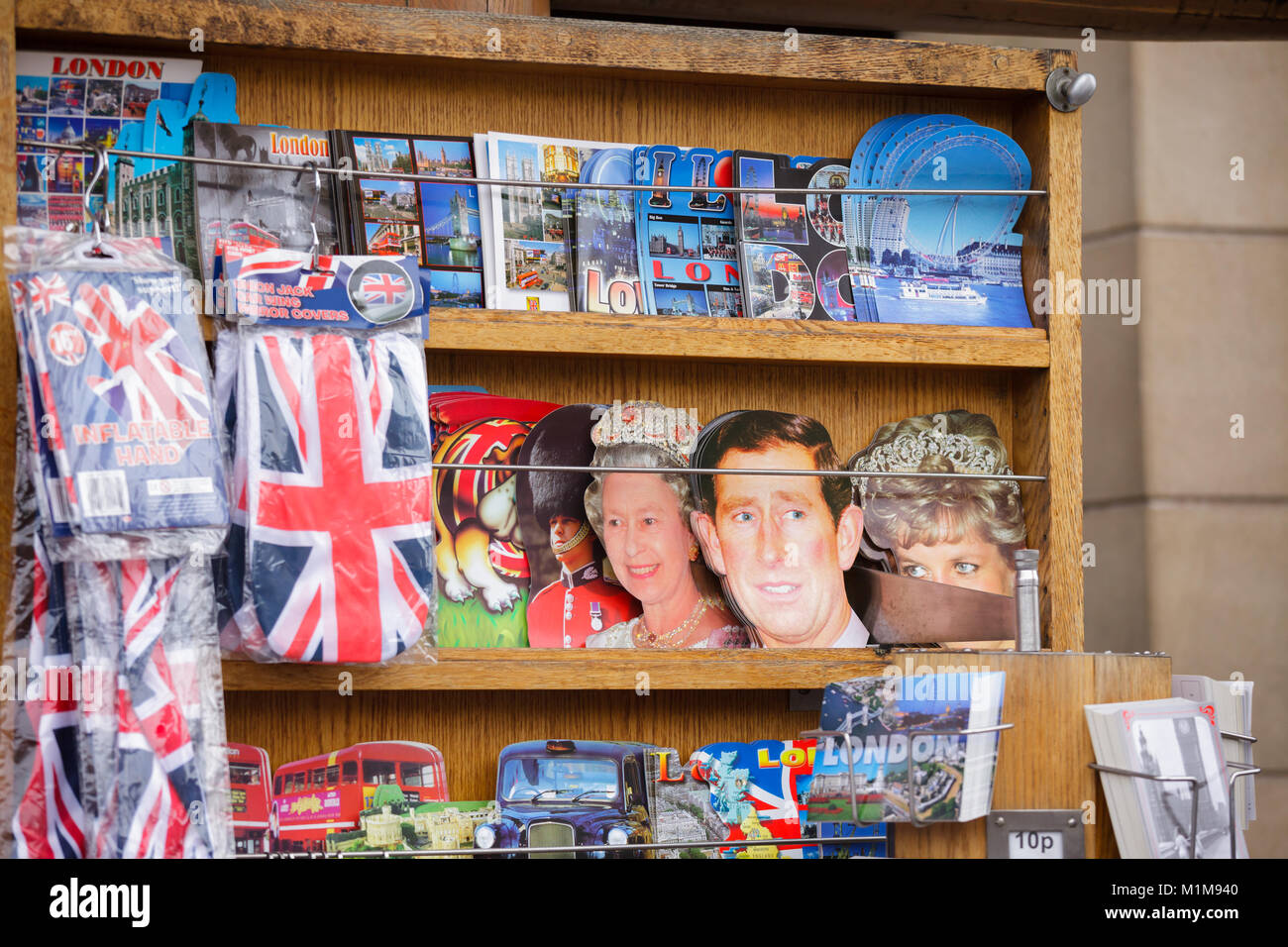 LONDON, UK - OCTOBER 28, 2012: Street souvenir stall with cut out postcards for sale - Stock Image