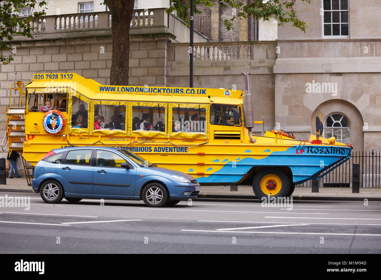 LONDON, UK - OCTOBER 28, 2012: London Duck Tours amphibious vehicle in the ground part of the London sightseeing - Stock Image