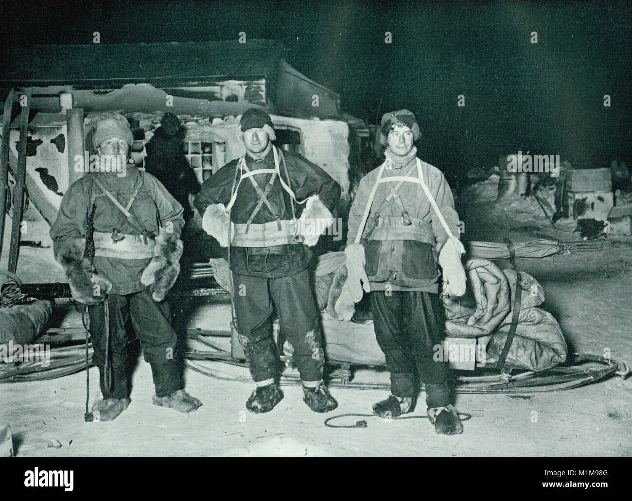 Henry Robertson Bowers, Edward Adrian Wilson and Apsley Cherry-Garrard, Austral Winter 1911, about to leave for - Stock Image
