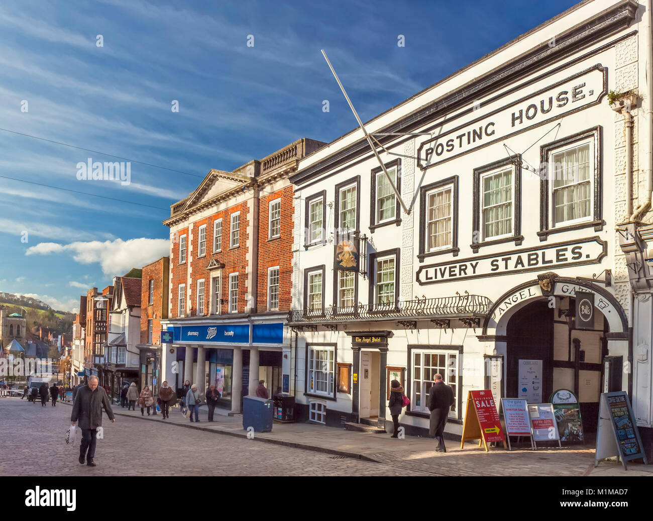 The Angel Hotel Posting House, Guildford High Street. Stock Photo