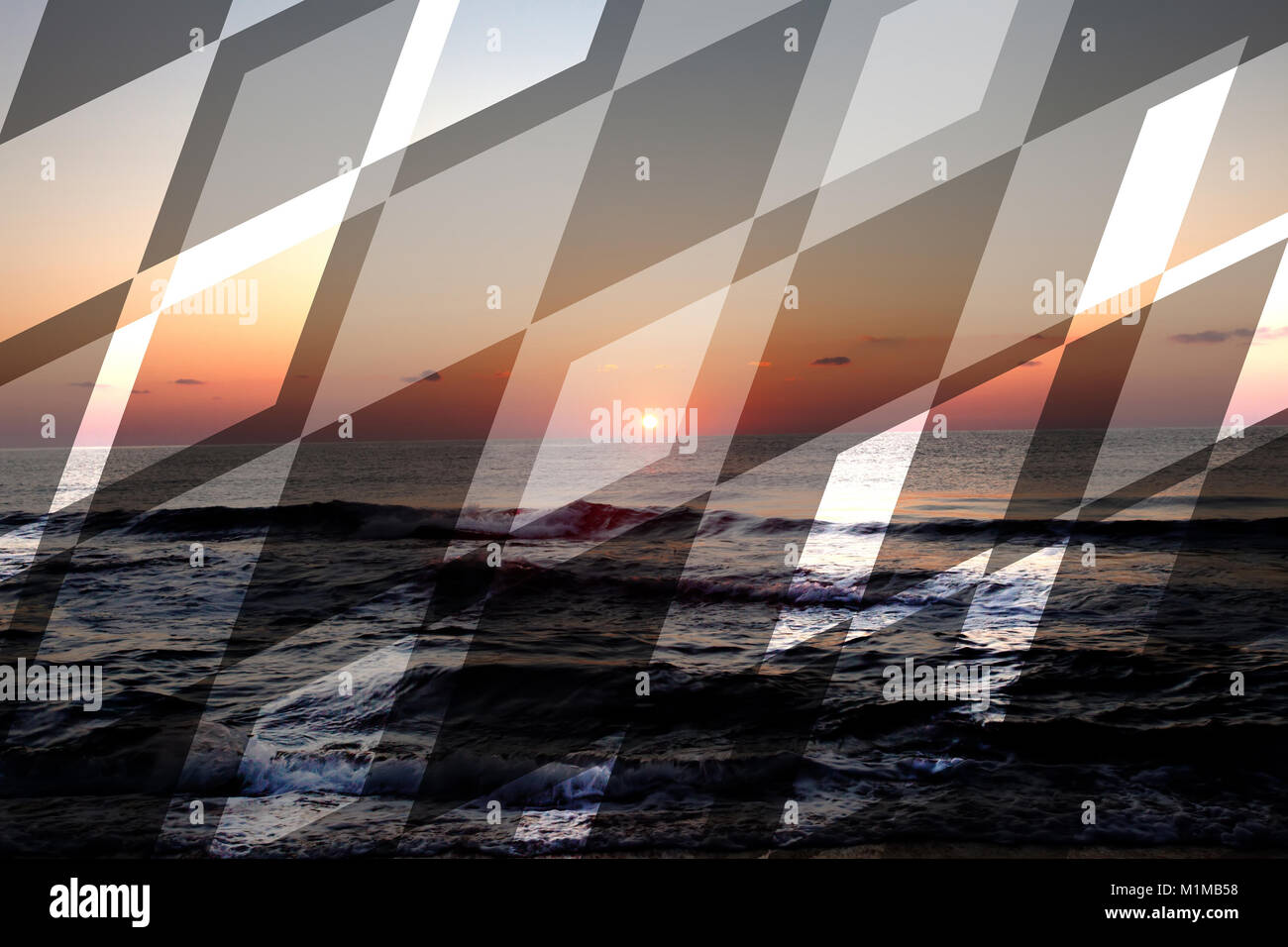 abstract sea geometric background with rocks and water waves, sunrise time with ricing sun , filter colored - Stock Image