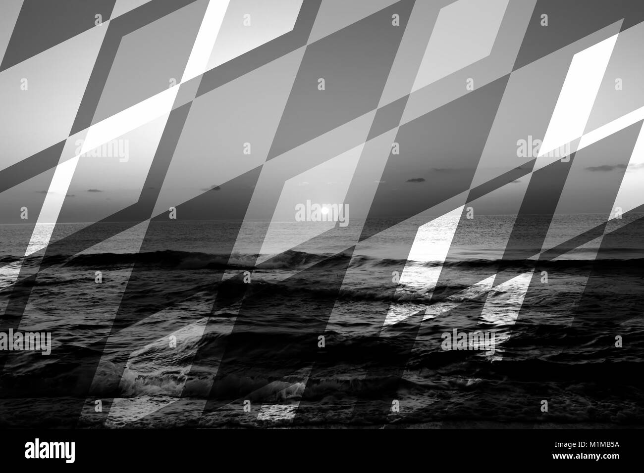 abstract black and white sea geometric background with rocks and water waves - Stock Image