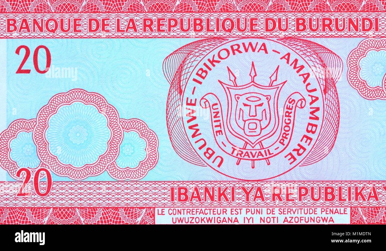 Burundi 20 Twenty Francs Bank Notes - Stock Image