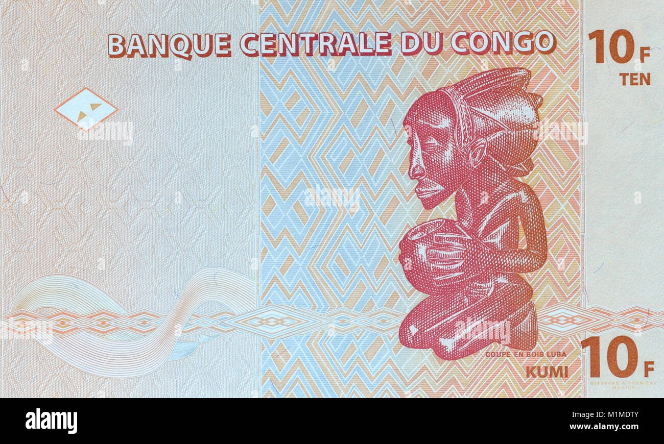 Democratic Republic of Congo Ten 10 Francs Bank Note - Stock Image