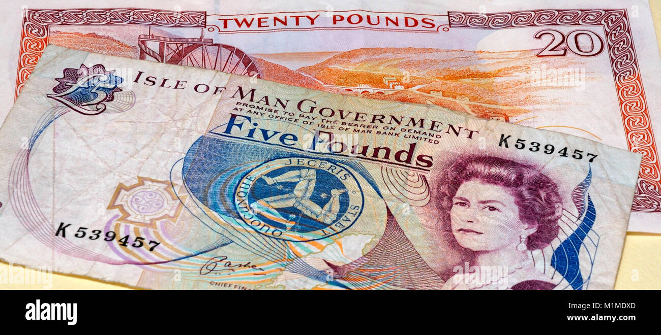 Isle of Man Currency Manx Pounds Bank Notes - Stock Image