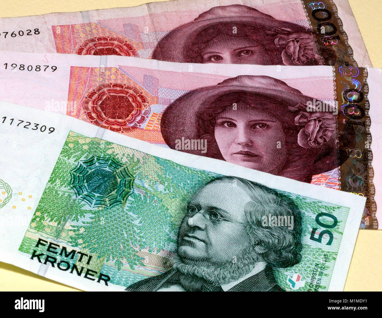 Norwegian Krone Currency Bank Note - Stock Image