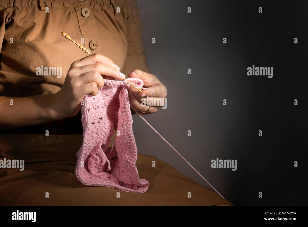 Creating of handcraft clothing. - Stock Image