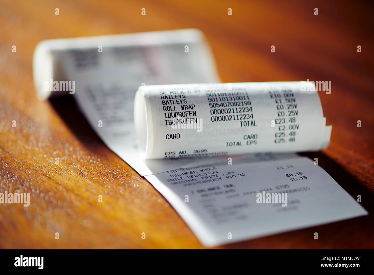 Close up of Till receipts - Stock Image