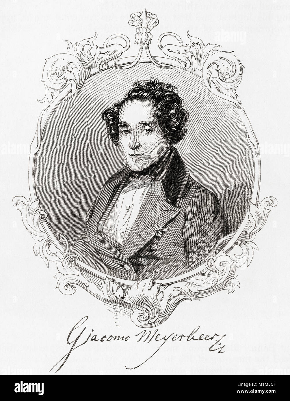 Giacomo Meyerbeer, born Jacob Liebmann Beer, 1791 – 1864.  German opera composer.  From Ward and Lock's Illustrated History of the World, published c.1882. Stock Photo
