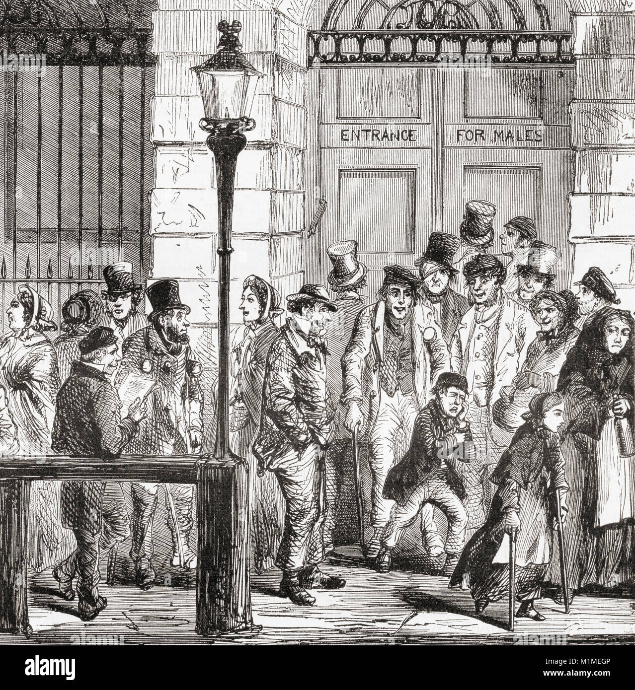 Poor people waiting at a hospital door in early 19th century London, England.  From Ward and Lock's Illustrated - Stock Image