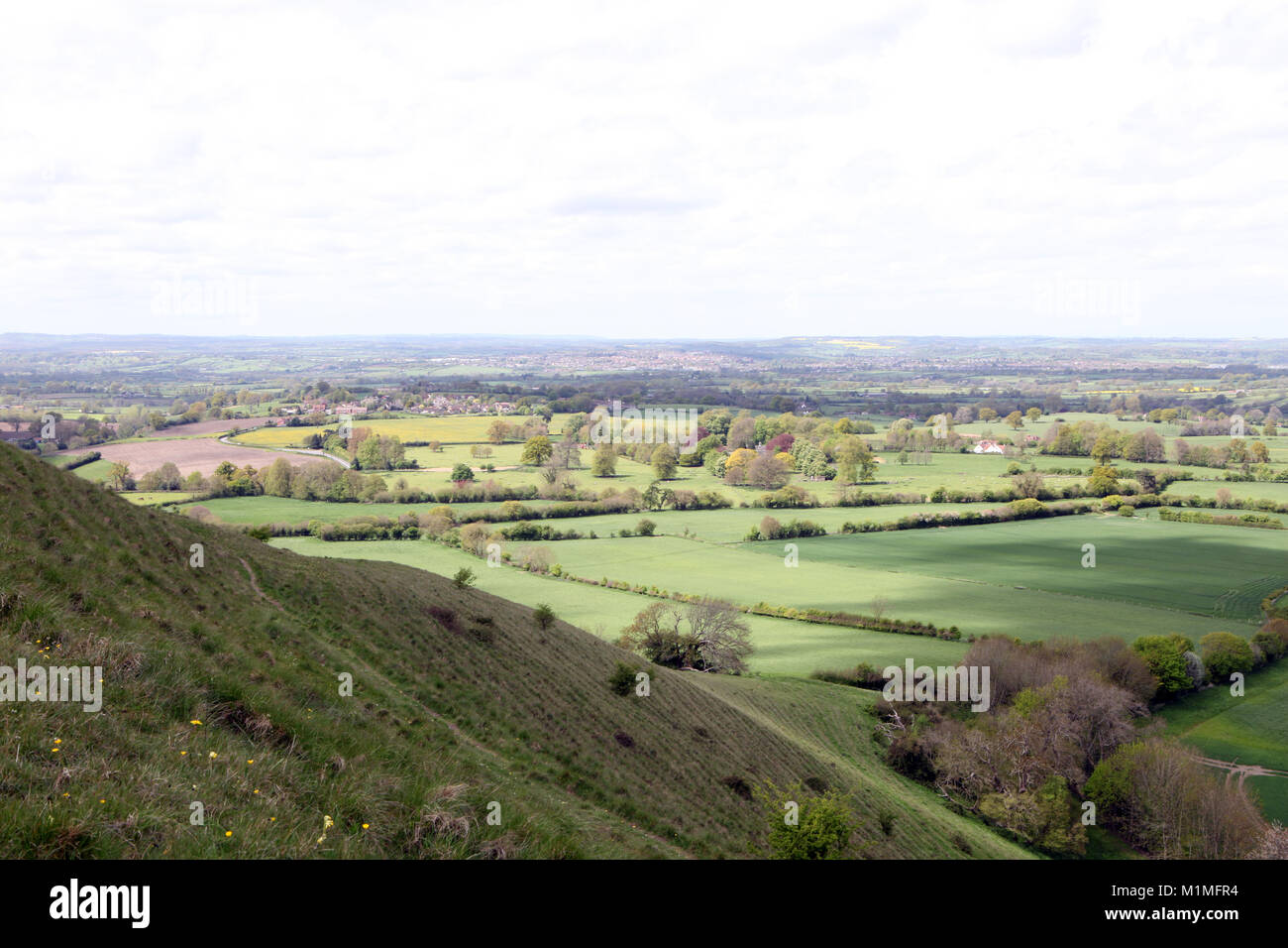 View towards the town of Frome from Cley Hill near Longleat in Wiltshire. UK - Stock Image