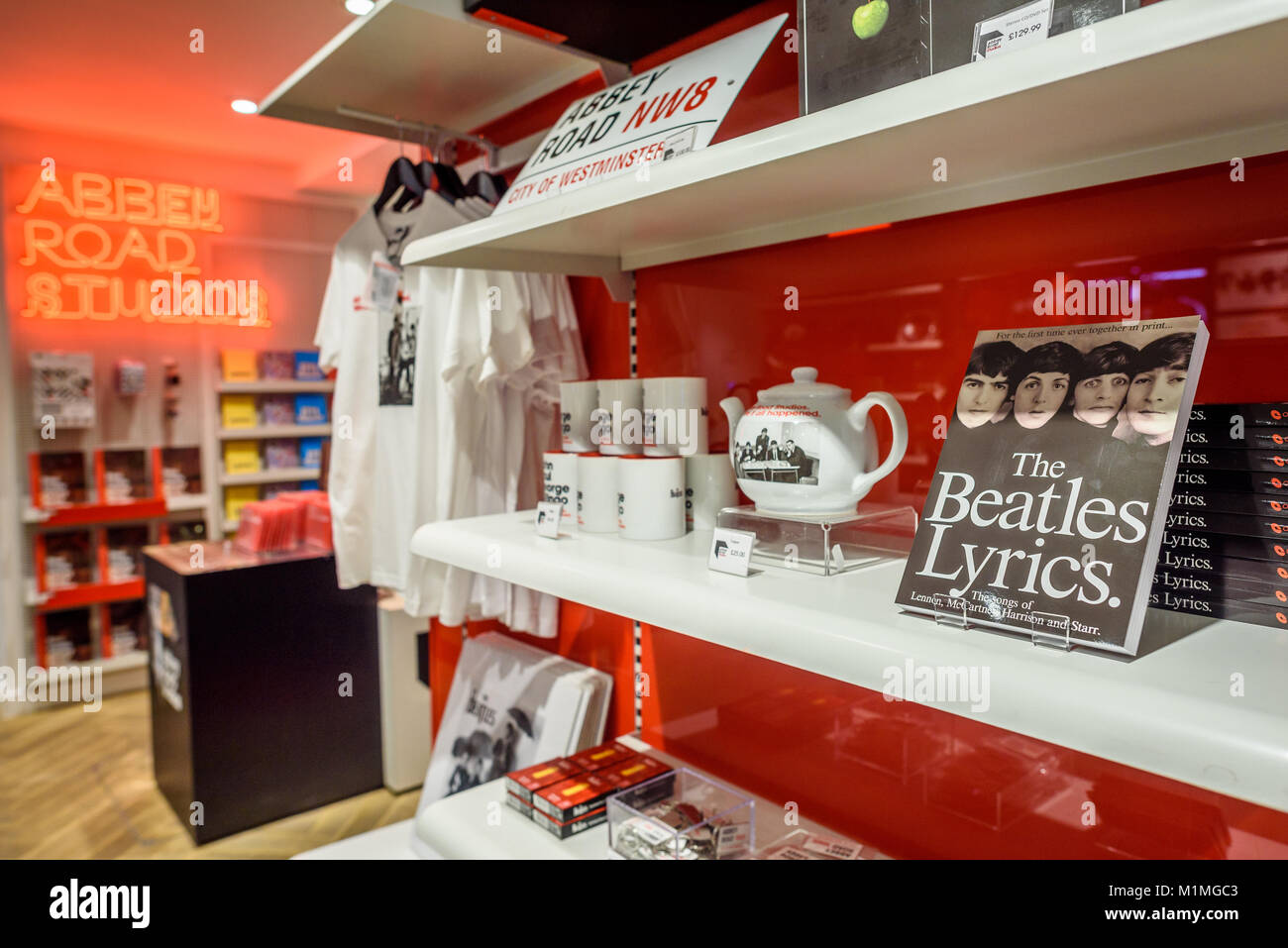 The Abbey Road shop selling various music related gifts, including Beatles related memorabilia. - Stock Image