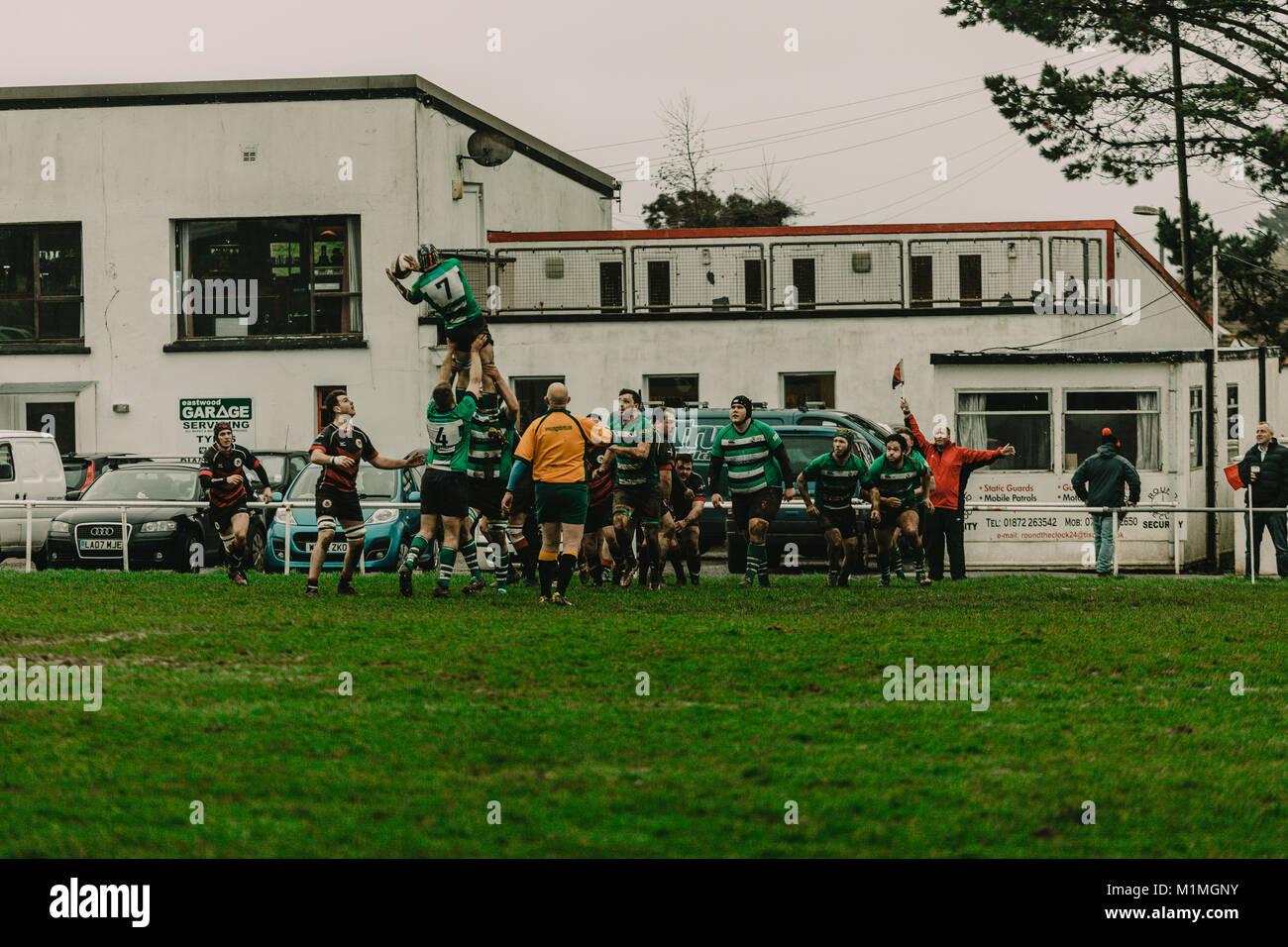 Penryn RFC vs Hayle RFC at The Memorial Stadium, Penryn, Cornwall, UK, 27th January 2018 Stock Photo