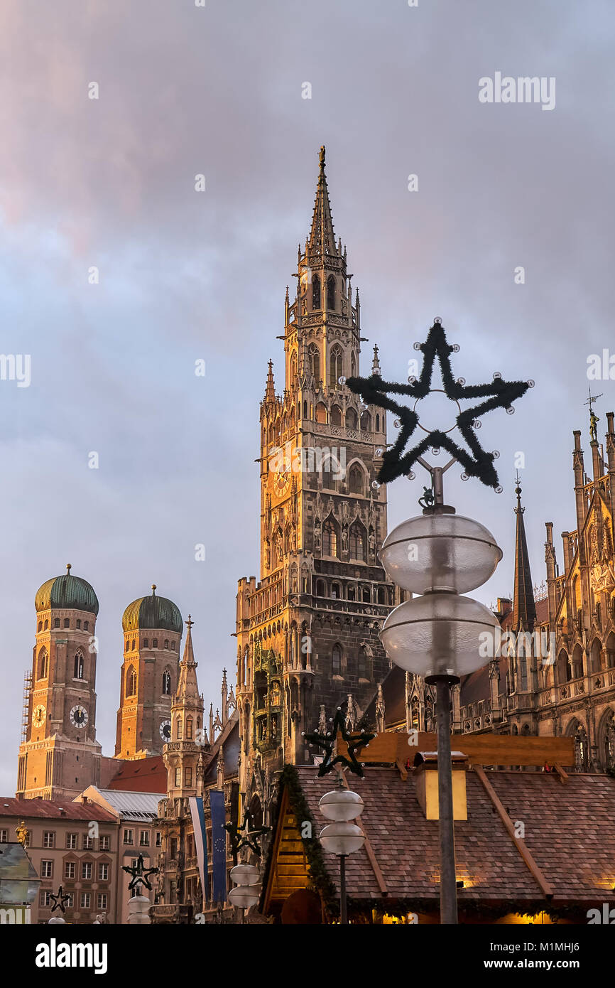 Marienplatz square in Munich with New Town Hall (Rathaus) and The Frauenkirche church in frame Stock Photo