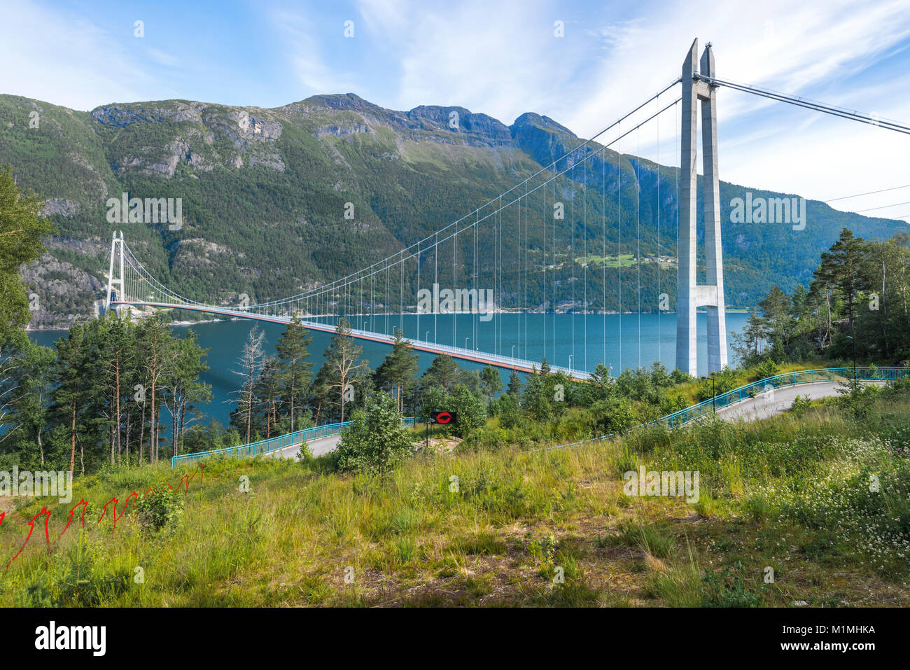 Hardanger Bridge over the Eidfjorden from above, fjord in Norway, suspension bridge Hardangerbrua, Hardangerfjord - Stock Image