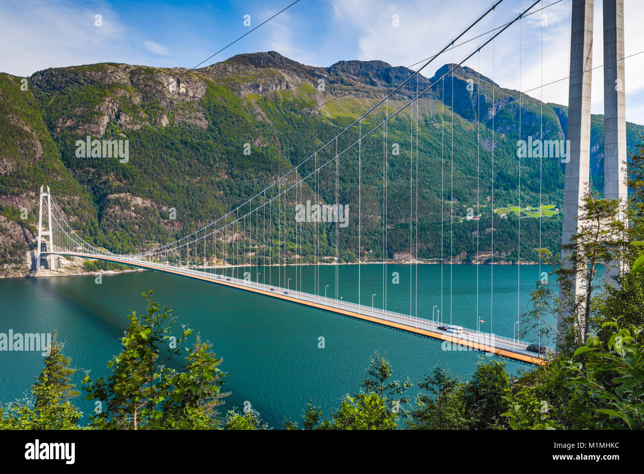 Hardanger Bridge over the Eidfjorden from above, Norway, Scandinavia, suspension bridge Hardangerbrua, Hardangerfjord - Stock Image