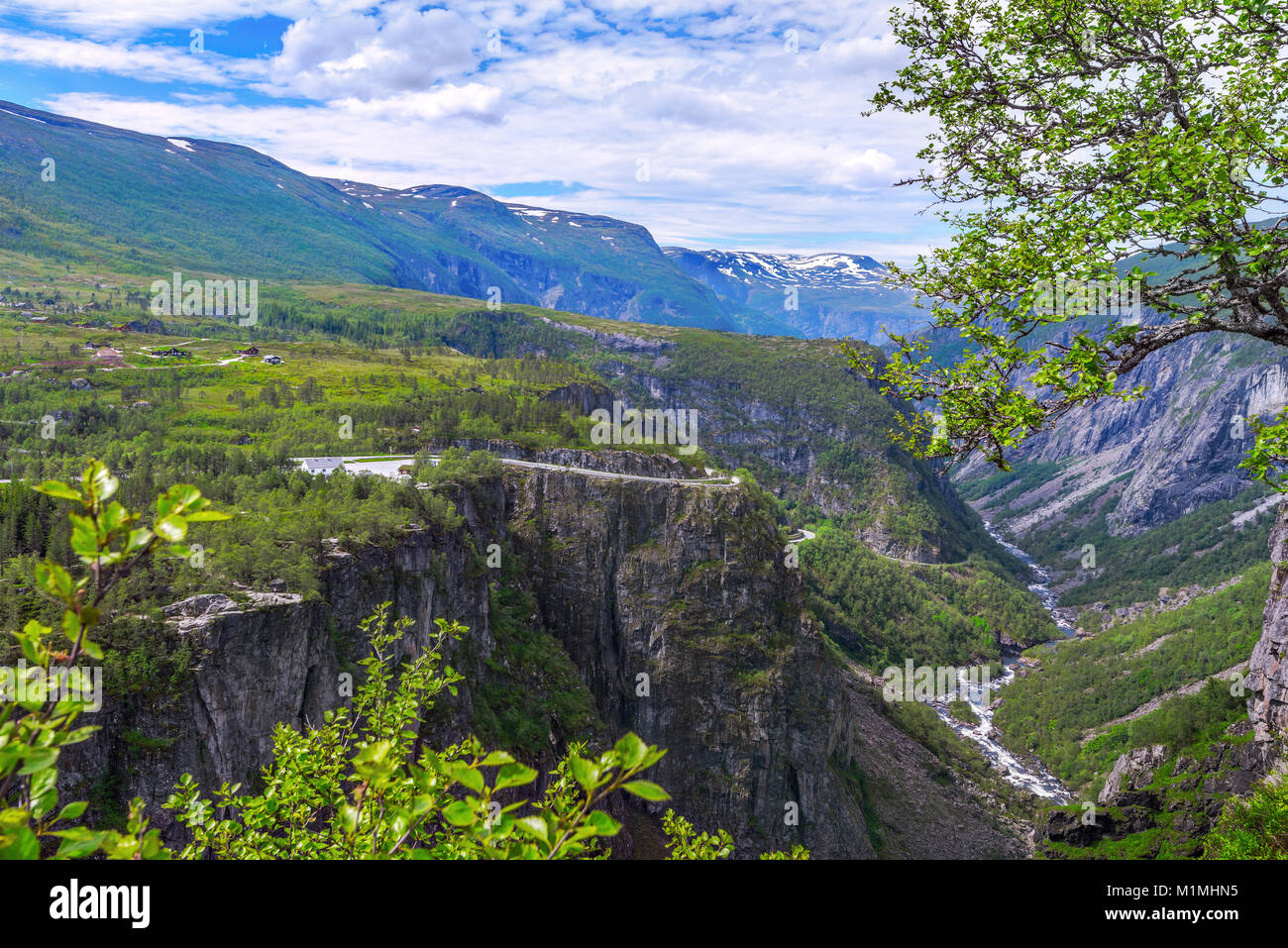Waterfall Voringfossen and panorama view over the plateau and mountains and canyon of Mabodalen, Norway, Scandinavia, - Stock Image