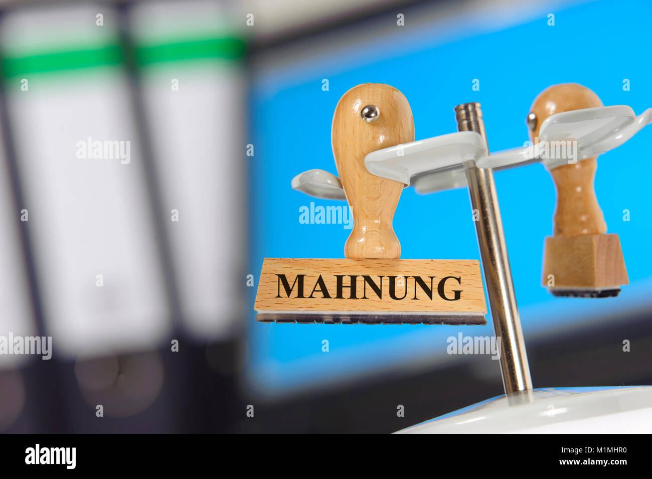 Stempel mit Mahnung - Stock Image