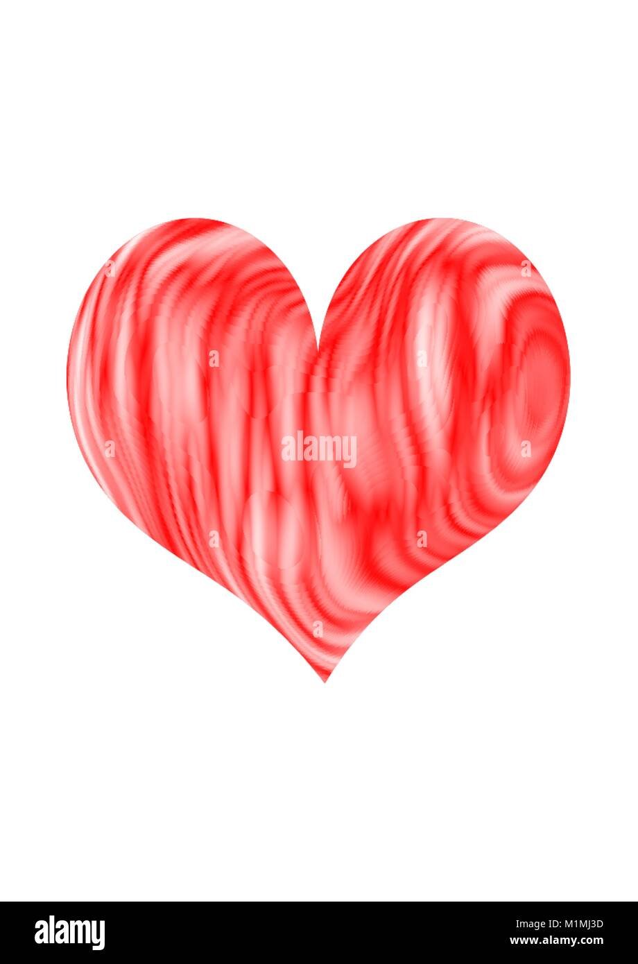 Red and White Swirl Heart On Plain Background - Stock Image