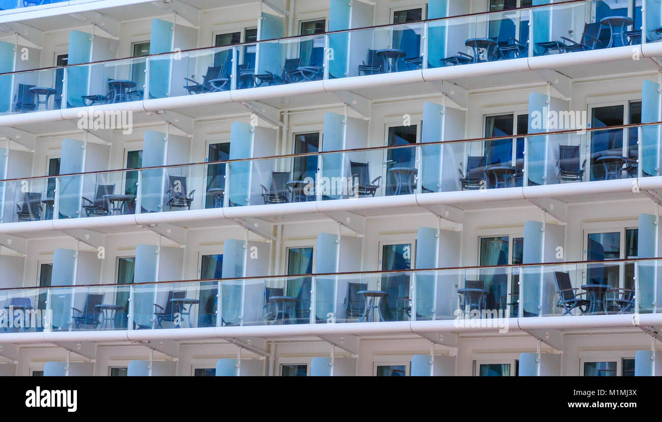Chairs and Tables on Balconies - Stock Image