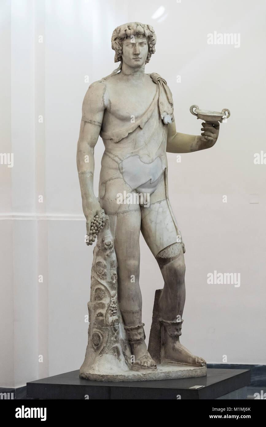 Naples. Italy. Antinous-Bacchus, Roman sculpture, 2nd century A.D.  Museo Archeologico Nazionale di Napoli. Naples - Stock Image