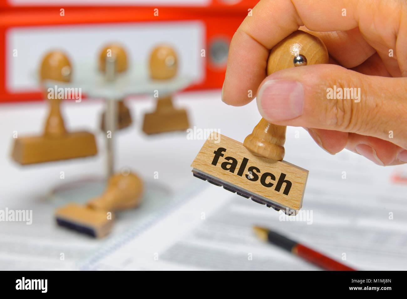 Stempel mit Aufdruck falsch - Stock Image