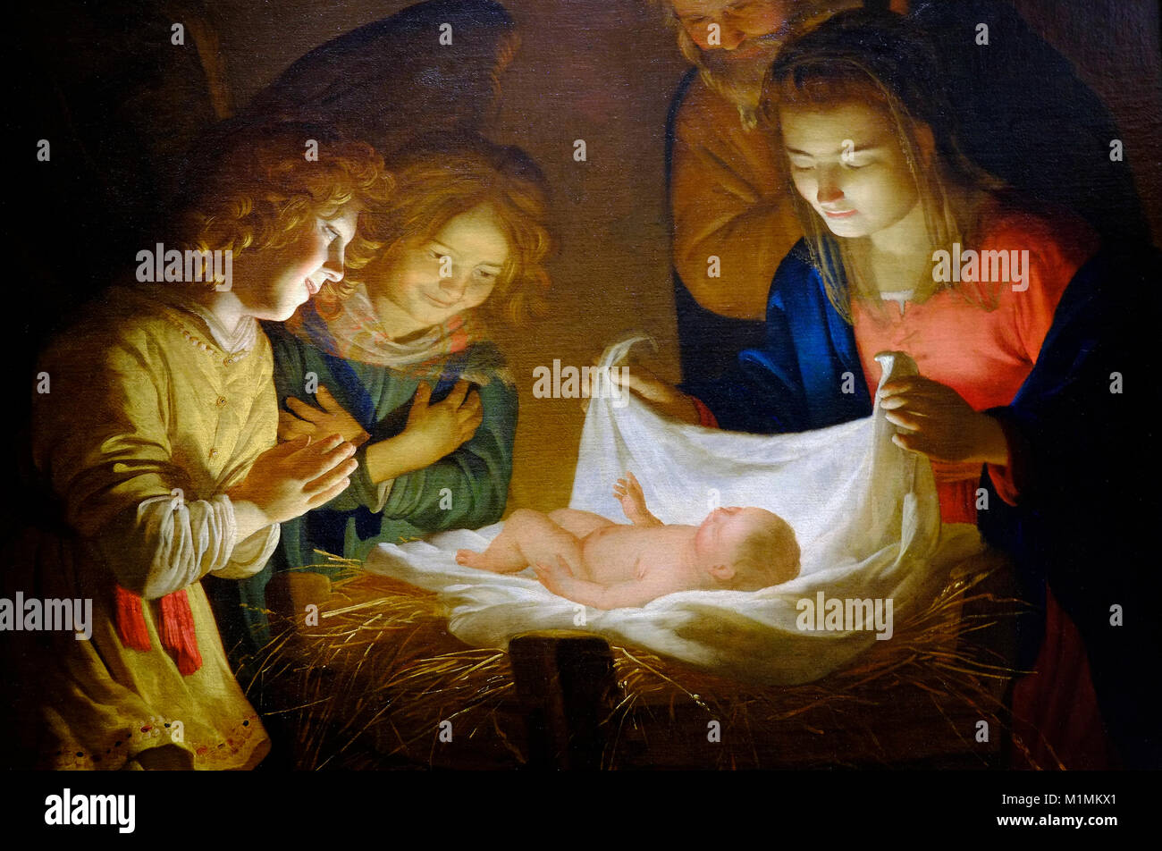 adoration of the child by gerrit van honthorst - Stock Image