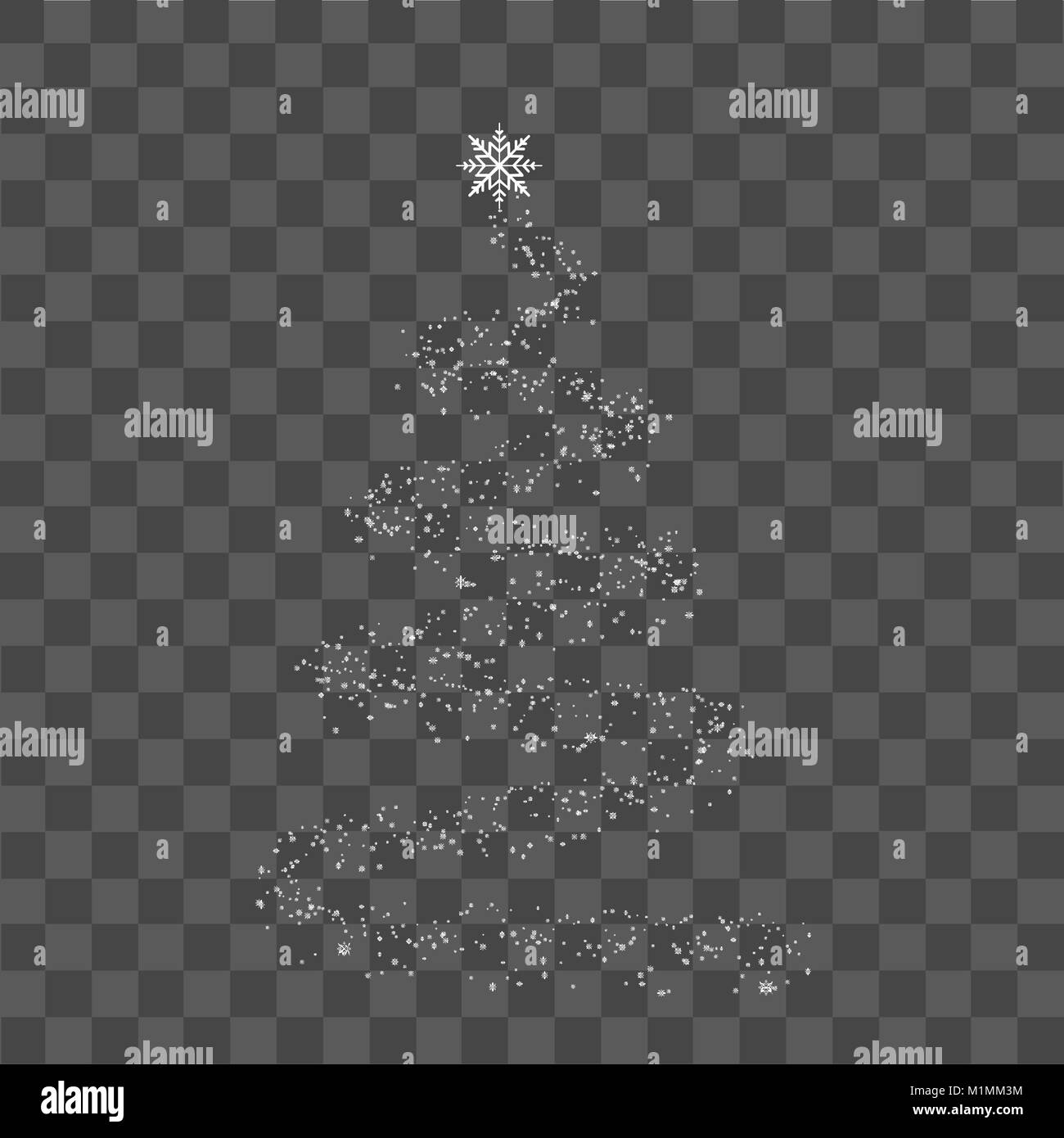 Christmas Tree Transparent Background.Christmas Tree With White Dots And Snow On Transparent
