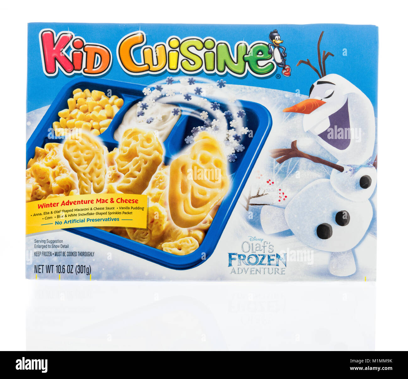 Winneconne, WI -  24 January 2018: A package of Kid Cuisine featuring Olaf's frozen adventure on an isolated - Stock Image