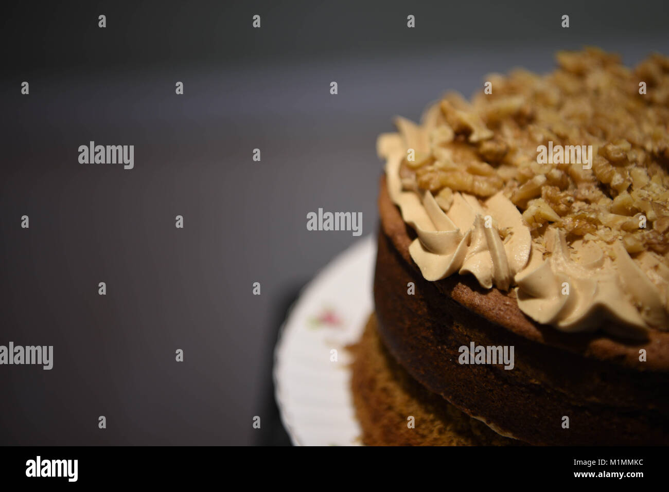 delicious homemade coffee cake with buttercream top and sprinkled with nuts and a dark background - Stock Image