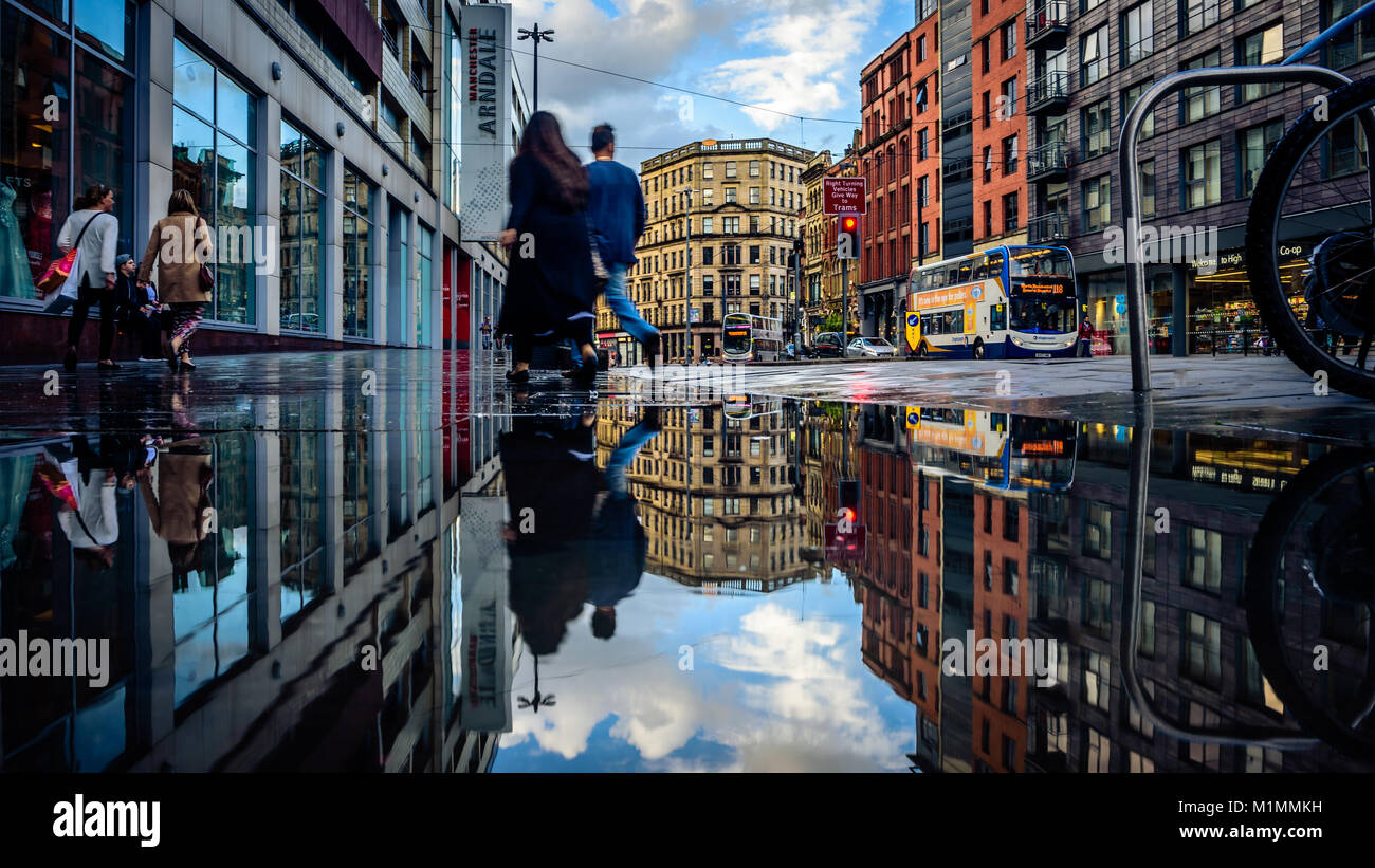 Shudehill Manchester reflections - Stock Image