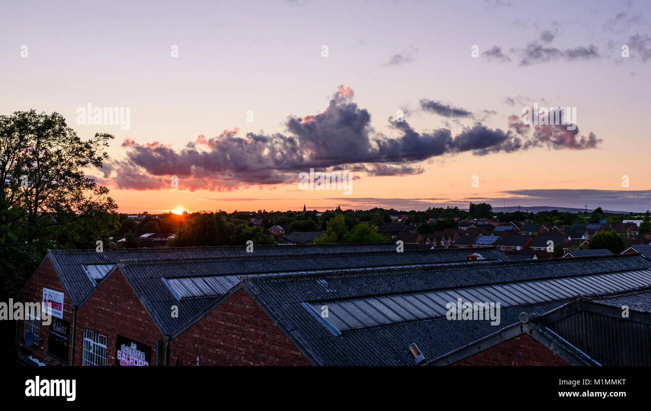 North West England industrial sunset - Stock Image